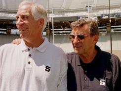 In this Aug. 6, 1999 file photo, Penn State football coach Joe Paterno, right, poses with his defensive coordinator Jerry Sandusky during Penn State Media Day. Sandusky was on Paterno's staff for 32 seasons.