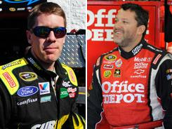 With two races remaining in the Chase for the Sprint Cup, Carl Edwards, left, leads Tony Stewart by a miniscule three points.