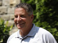 Former University of Tennessee basketball coach Bruce Pearl addresses members of the media during a news conference at his home in Knoxville, Tenn., on Thursday, Aug. 25, 2011.