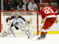 Johan Franzen scored three goals to help the Red Wings beat the Avalanche.