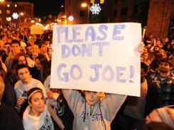 Rally for JoePa:  Penn State students rally on Beaver Avenue in downtown State College to support Joe Paterno. The coach was fired Wednesday night by the university's board of trustees.