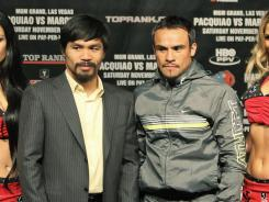 Manny Pacquiao, left, puts his WBO welterweight title on the line Saturday against Juan Manuel Marquez at a catchweight of 144 pounds.