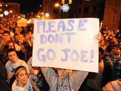 Penn State students rally on Beaver Avenue on Wednesday in support of ousted coach Joe Paterno. How students will react Saturday is one of many angles to the Nebraska-Penn State game on ESPN.
