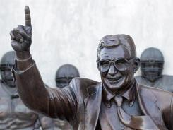 Those descending upon Happy Valley will still see this statue of former Penn State coach Joe Paterno at Saturday's game, but the longtime leader of the Nittany Lions won't likely be on hand on what figures to be an emotional Senior Day for many players.