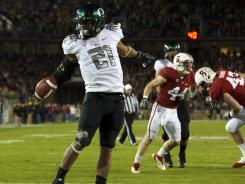 Oregon running back LaMichael James celebrates one of his three rushing touchdowns against Stanford.