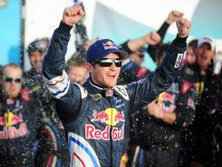 Kasey Kahne celebrates in victory lane after winning the Kobalt Tools 500 to snap an 81-race winless streak.