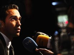 Alberto Contador of Spain talks to the media at the Tour de France 2012 route announcement on Oct. 18  in Paris.