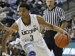 Connecticut guardJeremy Lamb  drives to the hoop against Wagner on Monday.
