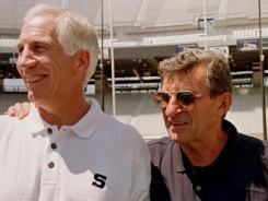 Penn State head football coach Joe Paterno, right,  with former  defensive coordinator Jerry Sandusky in happier times.