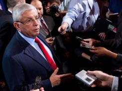 NBA commissioner David Stern speaks to the news media after a meeting with the Players Association on Thursday in New York. The league presented the players' association with a new offer Thursday after nearly 11 hours of bargaining, hoping it would be enough to end the lockout. However, union president Derek Fisher said it doesn't address all the necessary system issues that are important to the players.