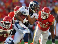 Broncos running back Lance Ball rushed for 96 yards against the Chiefs. He averages 4.1 yards a carry.