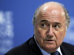 FIFA President Sepp Blatter attends a press conference after his re-election in June.