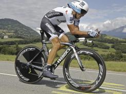 Three-time Tour de France winner Alberto Contador of Spain rides during the 20th stage of the 2011 Tour de France, an individual time trial over 26.4 miles starting and finishing in Grenoble, Alps region, France, on July 23.