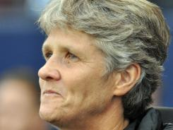 Coach Pia Sundhage looks on before a game Sept. 17 at Livestrong Park in Kansas City.