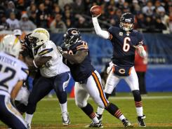 Bears QB Jay Cutler enjoyed another sack-free day Sunday vs. the Chargers.