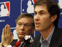 Commissioner Bud Selig, left, and players union executive director Michael Weiner speak Tuesday about the new collective bargaining agreement.