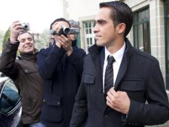 Cyclist Alberto Contador, of Spain leaves after the last day of a hearing at the Court of Arbitration for Sport (CAS) in Lausanne, Switzerland, on Thursday.The Spanish rider likely will find out in January if the Court of Arbitration for Sport panel believed his defense that eating contaminated steak caused positive tests for clenbuterol during his third Tour victory.