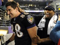 Baltimore Ravens tight end Dennis Pitta (88) and injured linebacker Ray Lewis were happy with Monday's win vs. the 49ers, but can they keep it up?