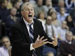 Connecticut head coach Jim Calhoun, seen here during a game Nov. 14 against Wagner, and his Huskies team are now 6-1 thanks to a late comeback win over Florida State Saturday.