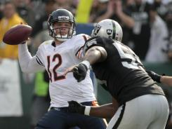 Bears QB Caleb Hanie threw three INTs in his first NFL start Sunday.