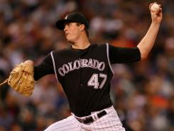 The Rockies have high hopes for pitcher Drew Pomeranz, above, who went 2-1 with a 5.40 ERA after being acquired from the Indians in the Ubaldo Jimenez trade.
