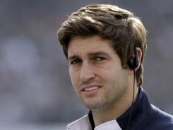 Chicago Bears quarterback Jay Cutler looks on from the sideline as his team plays the Oakland Raiders on Nov. 27.