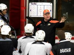 Bruce Boudreau conducts his first practice with the Anaheim Ducks on Thursday.