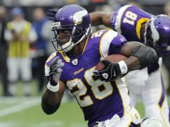 Minnesota Vikings running back Adrian Peterson is out with a high ankle sprain.