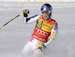Lindsey Vonn of the USA took first place at the Audi FIS Alpine Ski World Cup Women's super-G on Sunday in Lake Louise, Alberta.