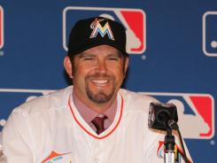 Heath Bell was introduced Monday as the new Marlins closer.