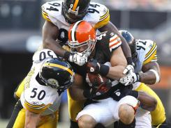 Cleveland Browns running back Peyton Hillis faces a tough Pittsburgh Steelers defense.