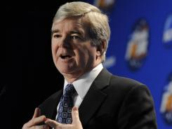 NCAA president Mark Emmert is pleased with Penn State's reaction to the scandal involving former assistant Jerry Sandusky.