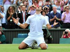 Novak Djokovic celebrates his Wimbledon title in July on his way to a record haul in 2011, $12.6 million in earnings.