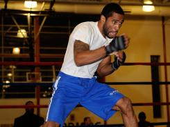 Lamont Peterson works out for the media at the Kennedy Recreation Center in Washington.