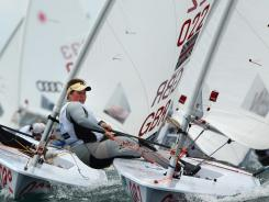 Heidi Tenkanen of Finland competes in the Blue fleet in the Laser class on the Parmelia Course during day five of the 2011 ISAF Sailing World Championships Wednesday in Perth, Australia..
