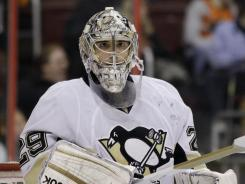 The Pittsburgh Penguins' Marc-Andre Fleury allowed the Philadelphia Flyers to rally back from a three-goal defecit and win the game.