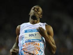 Jamaica's Usain Bolt wins the men's 100 during the Diamond League meet in Brussels on Sept. 16.