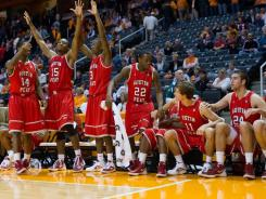 The Austin Peay Governors celebrate seconds before winning the game against the Tennessee Volunteers at Thompson Boling Arena. Austin Peay won by a score of 74 to 70.