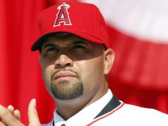 Albert Pujols is introduced to the Angels fans.