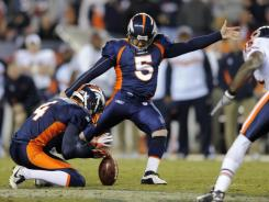 Broncos kicker Matt Prater kicks a 59-yard field goalto send the game against the Bears into overtime.