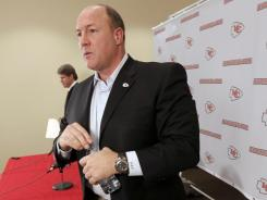 Kansas City Chiefs general manager Scott Pioli announcing the firing of head coach Todd Haley in Kansas City.