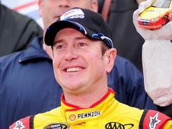 Kurt Busch, shown after his Oct. 2 win at Dover International Speedway, and Penske Racing split last week. His name resurfaced Tuesday as a possibility for the No. 43 Ford at Richard Petty Motorsports.