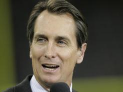 As part of the new NFL TV deal NBC, which features Cris Collinsworth, pictured, and Al Michaels in the booth, will take over the broadcast of the NFL's prime-time Thanksgiving Day game.