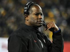 Former Kansas Jayhawks head coach Turner Gill on the sidelines against the Missouri Tigers in the second half at Arrowhead Stadium. Missouri won the game 24-10.