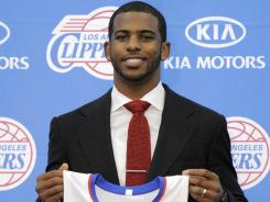 Point guard Chris Paul was all smiles Thursday when he was introduced as a Los Angeles Clipper.