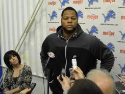 Lions DT Ndamukong Suh meets with the media Wednesday following his return from suspension.