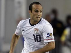 In this June 11, 2011, file photo, Landon Donovan dribbles the ball during a CONCACAF Gold Cup soccer match against Panama in Tampa, Fla. Donovan will return to Everton next month on a two-month loan.