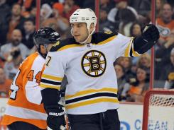 Bruins left wing Milan Lucic celebrates his first-period goal against the Flyers on Saturday.