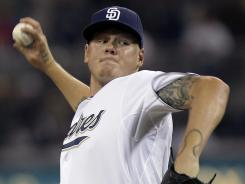 Mat Latos went 9-14 with a 3.47 ERA for the San Diego Padres last season.