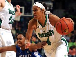 Notre Dame guard Skylar Diggins, right, drives the lane as Kentucky guard Bria Goss defends during first half of an NCAA college basketball game, Sunday, Dec. 18, 2011, in South Bend, Ind.